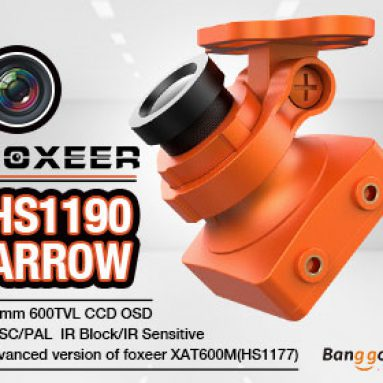 20% OFF for Foxeer HS1190 Arrow 2.8mm 600TVL CCD OSD NTSC/PAL IR Block/IR Sensitive Mini FPV Camera w/ Bracket from BANGGOOD TECHNOLOGY CO., LIMITED