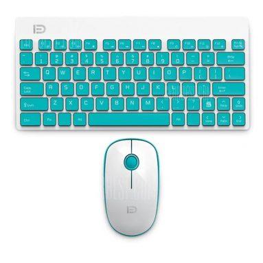 $ 13 với phiếu giảm giá cho FUDE 1500 Wireless Keyboard Mouse Combo với thiết kế tiện dụng - BLUE từ GearBest