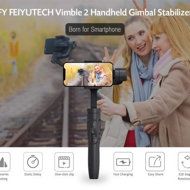 $72 with coupon for FeiyuTech Vimble 2 3-Axis Extendable Handheld Gimbal Stabilizer for Smartphone from TOMTOP