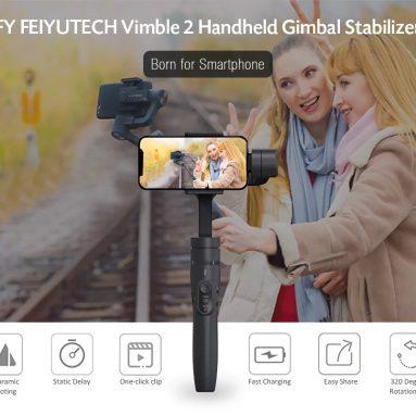 $ 72 med kupong for FeiyuTech Vimble 2 3-Axis Extendable Håndholdt Gimbal Stabilizer for Smartphone fra TOMTOP
