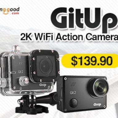 $20 OFF for GitUp Git 2 2K WiFi Action 1440P 1.5 inches LCD Git2 Camera Novatek 96660 Chipset IMX206 16.0MP Image Sensor from HongKong BangGood network Ltd.