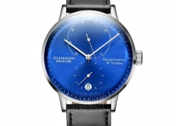 $69 with coupon for GUANQIN Men Leather Band Automatic Mechanical Watch  –  BRIGHT BLACK FRAME + BLUE LENS from GearBest