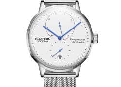 $59 with coupon for GUANQIN Men Steel Net Band Automatic Mechanical Watch  –  SILVER WHITE from Gearbest