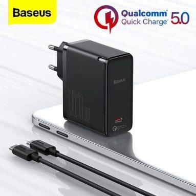 € 30 com cupom para [GaN Tech] Baseus GaN2 100W USB-C carregador de parede da BANGGOOD