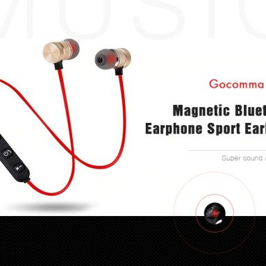 $2 with coupon for Gocomma G16 Magnetic Bluetooth Earphone Sport Earbuds – Red from GEARBEST