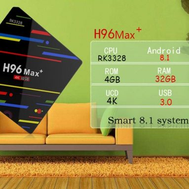 $49 with coupon for H96 MAX+ TV Box 4GB RAM + 32GB ROM – BLACK EU PLUG from GearBest