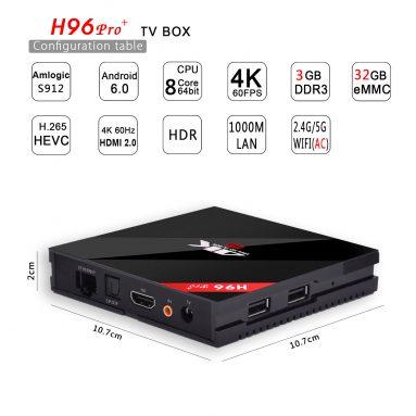 Phiếu giảm giá 20% OFF cho TV Box (H96 PRO + S912 Octa-Core 3G + 32G) từ BANGGOOD