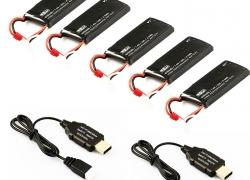 Batterie Packung (4 pcs 7.4V 610mAh Batterien + 2 pcs USB Ladegerät) pour Hubsan H502S H502E Quadcopter de RCMaster