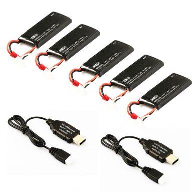 Batterie Packung (4 pcs 7.4V 610mAh Batterien + 2 pcs USB Ladegerät) für Hubsan H502S H502E Quadcopter từ RCMaster