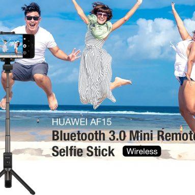 $ 19 HuAWEI ऑनर AF15 ब्लूटूथ के लिए कूपन के साथ 3.0 वायरलेस मिनी रिमोट कंट्रोल सेल्फी स्टिक - गियरबेस्ट से काला