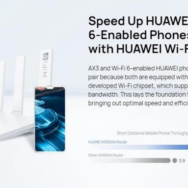 €52 with coupon for HUAWEI WiFi AX3 Quad-core Wi-Fi 6+ Wireless Router 3000Mbps Huawei Share HarmonyOS WiFi Router – AX3 from EU CZ warehouse BANGGOOD