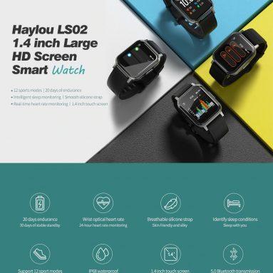 27 € với phiếu giảm giá cho Haylou LS02 1.4inch Màu màn hình lớn Độ phân giải 320ppi 12 Chế độ thể thao 30 Ngày chờ bluetooth dài 5.0 XNUMX Đồng hồ thông minh Phiên bản toàn cầu từ BANGGOOD