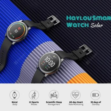 $ 25 med kupon til Haylou Solar Smart Watch 12 Sportstilstande Global version fra Xiaomi youpin - Sort fra GEARBEST