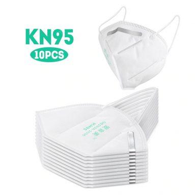 21 € s kupónem pro 10PCS vysoce uzavřené masky KN95 odolné proti prachu profesionální ochrana pro stříkající stříkající PM2.5 Pohodlný elastický typ ušní značky od GEARBEST