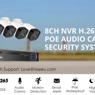€144 with coupon for Hiseeu 4Pcs POE H.265+ Security IP Cameras 8CH 5MP NVR Camera System Support Audio Night Vision 10m IP66 Waterproof Onvif EU CZ WAREHOUSE from BANGGOOD
