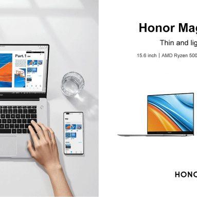 834 € cu cupon pentru Honor MagicBook 15 2021 Ryzen Edition 15.6 inch AMD R5-5500U 16GB RAM 3200MHz 512GB NVMe SSD 300nits 100% sRGB 56Wh Baterie WiFi6 Cameră Iluminare din spate Amprentă digitală Full-Type Caiet de încărcare rapidă Type-C de la BANGGOOD