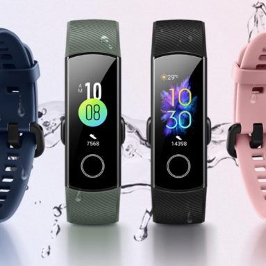 33 $ avec coupon Huawei Honor Band 5 Smart Band Global Version Montre intelligente à oxygène sanguin AMOLED - Version mondiale bleue de GEARBEST