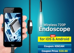10% OFF for iOS & Android Wireless Mini 720P IP66 Tube Endoscope Camera 6 LED for Smart Phone Tablet iPhone from HongKong BangGood network Ltd.