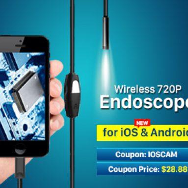 10% OFF för iOS och Android Trådlös Mini 720P IP66 Tube Endoskopkamera 6 LED för Smart Phone Tablet iPhone från HongKong BangGood Network Ltd.