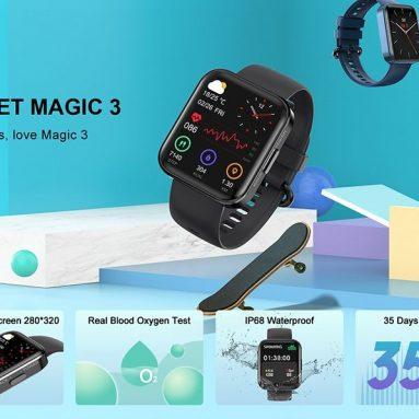 31 USD s kuponom za KOSPET MAGIC 3 1.71-inčni 3D zakrivljeni pametni sat s punim dodirnim zaslonom, 20 sportskih načina, pravi test kisika iz krvi IP68, vodootporni Bluetooth 5.0, tvrtke GEARBEST