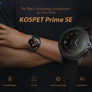 99 dollar med kupong for KOSPET Prime SE Face ID Dual Camera 4G Smartwatch Phone fra GEARBEST