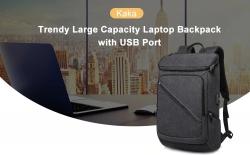 $ 28 z kuponem na plecak na laptopa Kaka Trendy o dużej pojemności z portem USB - CZARNY od GearBest