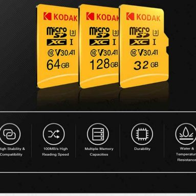 $16 with coupon for Kodak High Speed U3 A1 V30 TF Micro SD Memory Card 128GB Support 4K from GEARBEST