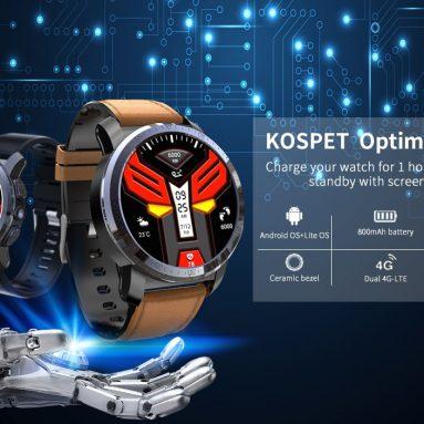 € 126 với phiếu giảm giá cho Hệ thống chip kép Kospet Optimus Pro 3G + 32G 4G-LTE Điện thoại AMOLED 8.0MP 800mAh GPS Google Play Đồng hồ thông minh từ BANGGOOD
