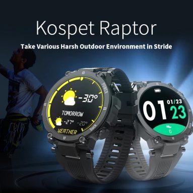 29 УСД са купоном за паметни сат Коспет Раптор Оутдоор Смарт Ватцх Руггед 1.3-инчни паметни сат 30 дана 20 спортских режима ИП68 Водоотпорни оригинални креативни УИ часовник - црни од БАНГГООД