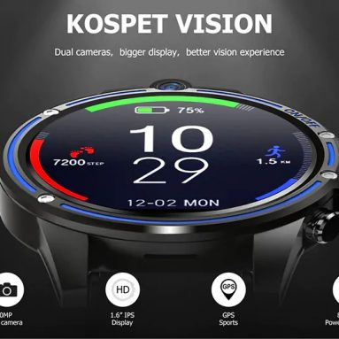Kospet Vision 129 'LTPS 크리스탈 디스플레이 용 쿠폰 포함 1.6 달러 3G + 32G 5.0MP 전면 듀얼 카메라 4G-LTE 화상 통화 800mAh Google Play 가죽 스트랩 스마트 시계 전화 – BANGGOOD