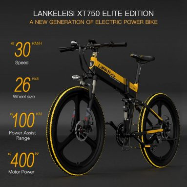 €799 with coupon for LANKELEISI XT750 ELITE Edition 26 Inch Folding Electric Bike from EU GER warehouse TOMTOP