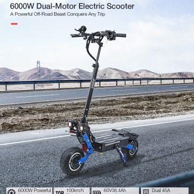 1099 € са купоном за ЛАОТИЕ ЕС19 пригушивач управљача 60В 38.4Ах батерија 6000В двоструки електрични скутер 100км / х највећа брзина 135км километража 10 × 2.5инчни електрични скутер са широким точком од БАНГГООД