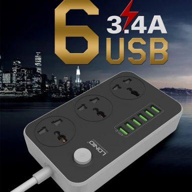 € 11 với phiếu giảm giá cho LDNIO 5V 3.4A Máy tính để bàn 3 Ổ cắm điện 6 Cổng USB 5.24ft / 1.6m EU Ổ cắm sạc từ BANGGOOD