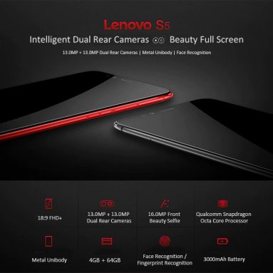 $84 with coupon for Lenovo S5 4G Phablet 4GB RAM – BLACK from GearBest