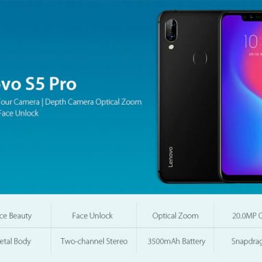 $199 with coupon for Lenovo S5 Pro 4G Phablet Global Version 6GB RAM from GearBest