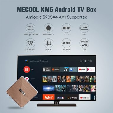 €79 with coupon for MECOOL KM6 Deluxe 4GB/64GB ROM Android TV 10.0 TV BOX Amlogic S905X4 2.5G+5G WIFI 6 Bluetooth 5.0 4K HDR from EU GER warehouse GEEKBUYING