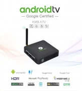 $54 with coupon for MECOOL KM8 Google Certified Android TV Box with Voice Remote – BLACK EU PLUG from GearBest