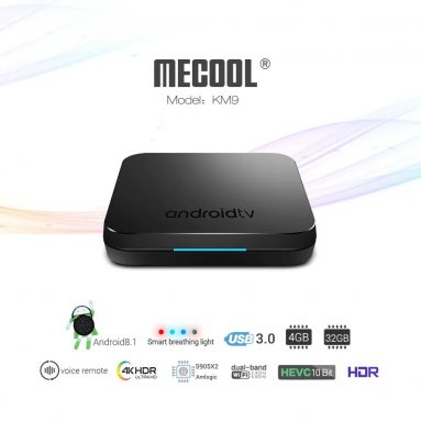 €43 with coupon for MECOOL KM9 Android TV OS TV Box with Voice Remote – BLACK EU PLUG from GearBest