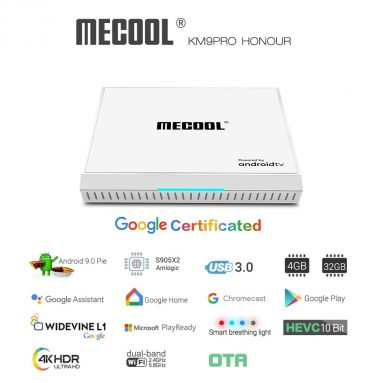€60 with coupon for MECOOL KM9 Pro Honour Google Certificated Voice Control TV Box – White EU Plug from GEARBEST