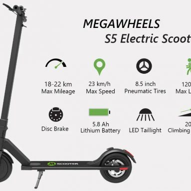 €271 with coupon for MEGAWHEELS S5 8.5 Inch 8Ah 36V 250W Brushless Motor Folding Electric Scooter 23km/h Max. Speed 22km Range EU warehouse from BANGGOOD