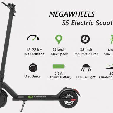 MEGAWHEELS S272 5インチ8.5Ah 8V 36Wブラシレスモーター折りたたみ電動スクーター250km / hのクーポン付き23 BANGGOODからの22km範囲EU倉庫の速度