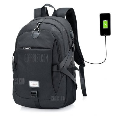 $15 with coupon for Men Casual Durable Canvas Backpack with USB Port  –  BLACK from GearBest