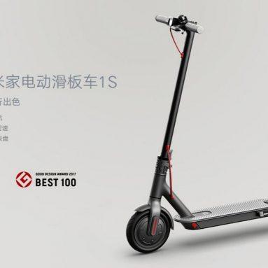 € 352 з купоном на електричний скутер Mi Electric Scooter 1S, 8.5-дюймова шина, 250 Вт, безщітковий двигун, до 30 км. Діапазон, макс. Швидкість, 25 км / год.
