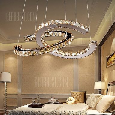 $95 with coupon for Modern Stainless Steel 3000K LED Crystal Chandelier 220V  –  WARM WHITE from GearBest