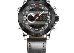 $18 with coupon for Naviforce9097 Men's Dual Display Luminous Multifunctional Waterproof Sports Watch  –  SILVER from GearBest