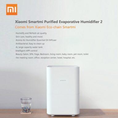 171 € med kupong för New Smartmi Evaporation Air Luftfuktare 2 4L Stor kapacitet 99% Antibakteriell Smart Screen Display Mi Home APP Control från BANGGOOD