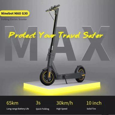 € Ninebot MAX G721 Elektrikli Scooter için kuponlu 30 € Sabit Hızlı Yolculuk 350W Motor 15.3Ah Pil 65km Kilometre Siyah - BANGGOOD'dan