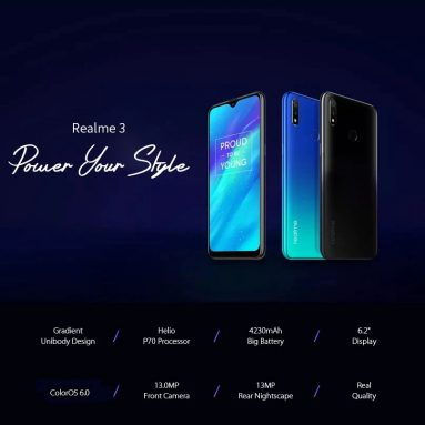 $139 with coupon for OPPO Realme 3 4G Phablet 3GB RAM 32GB ROM Global Version – Ocean Blue from GEARBEST