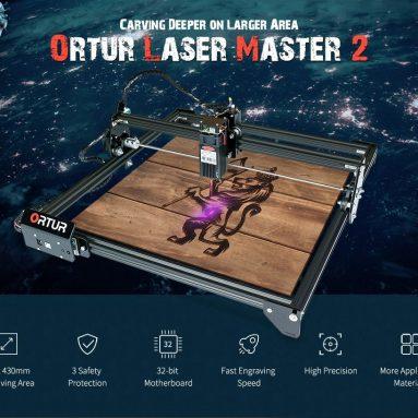 € 192 com cupom para ORTUR Laser Master 2 Máquina de Gravação a Laser de Placa-Mãe de 32 bits 400 x 430mm Grande Área de Gravação Gravador a Laser de Alta Precisão e Velocidade Rápida - Preto 20W (Plug UE) da GEARBEST