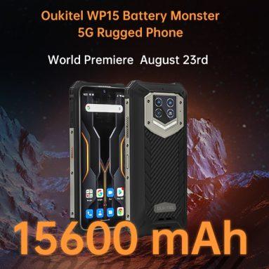 296 € OUKITEL WP15 5G Global Bantlar için kuponlu 15600mAh Pil Boyutu 700 8GB 128GB 6.52 inç 48MP Üçlü Kamera NFC IP68&IP69K BANGGOOD'dan Su Geçirmez Dayanıklı Akıllı Telefon